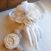 Shabby Chic  Wrist Corsage & Boutonniere, ivory cotton fabric flowers, burlap, jute, lace, rhinestones and pearls. Made to Order.