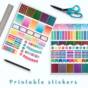 50% OFF Colorful Foil Stickers Printable Planner Stickers Erin Condren Box Stickers Page Flags Weekend Banners To Do Stickers Weekly Kit