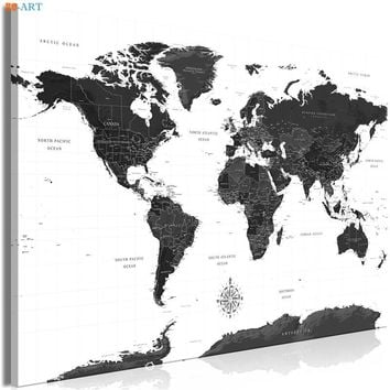 Modern Art Black and White World Map Canvas Painting Wall Art Posters and Prints Wall Picture Home Office Decor