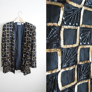 Vintage 80s Black Gold Sequin Silk Party Glitter Jacket Top