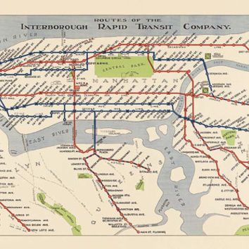 Antique Subway Map of New York City (1924) - Archival Reproduction