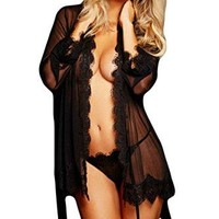 Black Lace Sexy Lingerie Set with Thong and Waistbelt Sheer Open Front Lingerie Robe for Women ((US 6-10)M)