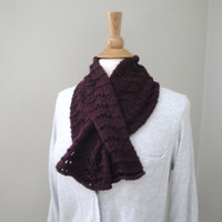Pull Through Keyhole Scarf, Wine, Merino & Cashmere, Hand Knit Neck Scarf Scarflette, Super Soft