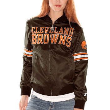 Cleveland Browns Womens Starter Blitz Satin Jacket - Brown