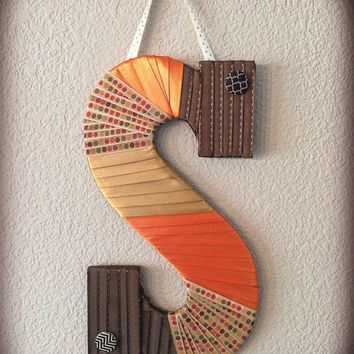 Fall & Thanksgiving Decor-Large Decorative Monogram-Hanging Letter by Tightly Wound Designs