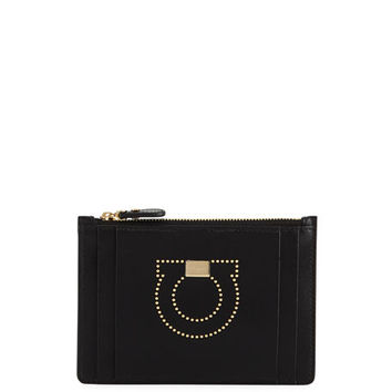 Salvatore Ferragamo Gancio Studded Small Zip Wallet