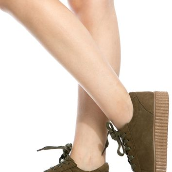 Olive Faux Suede Flatform Creepers @ Cicihot Women Sneakers-Fashion Sneakers,Casual Sneakers,Wedge Sneakers,Platform Sneakers,Hidden Wedge Sneakers,High Top Sneakers,Lace Up Sneakers,Studded Sneakers,Buckle Sneakers
