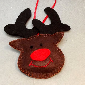 Christmas ornaments, Hand sewn felt reindeer,  Christmas crafts, Christmas reindeer Felt Reindeer Rudolph Hanging Tree Decoration  Set of 6