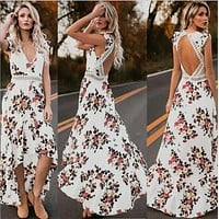 Women's summer backless summer dress  bohemian maxi dress long dress