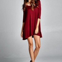 Casual Burgundy Swing Dress
