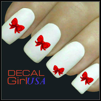 Christmas Nail Decals Bows 32 Nail Decals