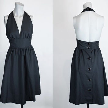 Vintage 70s Dress / 1970s Albert Nipon Black Button Back Halter Dress S