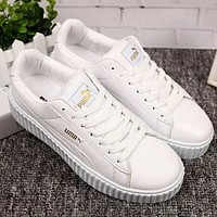 PUMA trend wild casual lace shoes thick sole white shoes couple models shoes