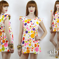 Vintage 60s Rainbow Polka Dots Micro Mini Dress XS S Rainbow Dress 60s Mini Dress Summer Dress Polka Dot Dress 60s Mod Dress White Dress