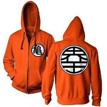 Dragon Ball Z Kame Symbol Orange Zip-Up Adult Hoodie Sweatshirt (Adult Large)