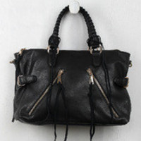 Vegan Leather Suede Threaded Bag