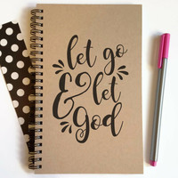 Writing journal, spiral notebook, cute diary, small sketchbook, scrapbook, memory book, 5x8 journal - Let go and let God, prayer journal