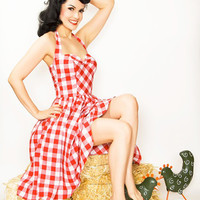 Rockabilly Girl by Bernie Dexter**Red Gingham Halter Bell Swing Dress - Unique Vintage - Cocktail, Evening  Pinup Dresses