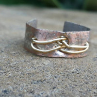 Copper Hammered Ring, Mixed Metal Jewelry, Brass Wire Wrapped, Textured Metal, Adjustable Ring
