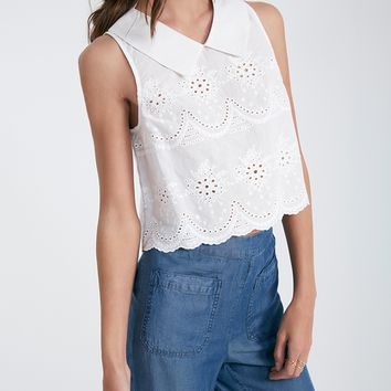 Eyelet Lace Crop Top With Collar | Wet Seal