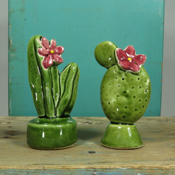 Flowering Cactus Salt and Pepper Shakers • Japan •  Circa 1950s • Vintage Porcelain • Prickly Pear • Lady Finger