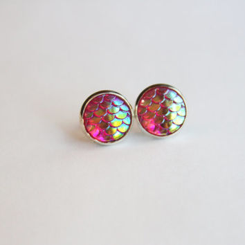 NEW - Mermaid Scale Pink Rainbow Iridescent Earrings - Posts/Studs 12mm LARGE