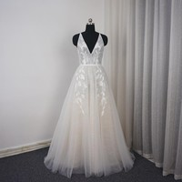 V Neck Beach Wedding Dress Lace Appliqued Illusion Bare Back Bridal Gown