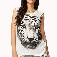 Tiger Graphic Slub Knit Tank