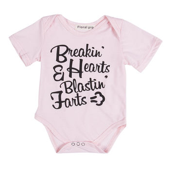 2017 New Pink Bodysuit 0-18M Newborn Infant Baby Girl Clothes Short Sleeve Letter Print Cotton Bodysuits Bebes Bodysuite Outfit