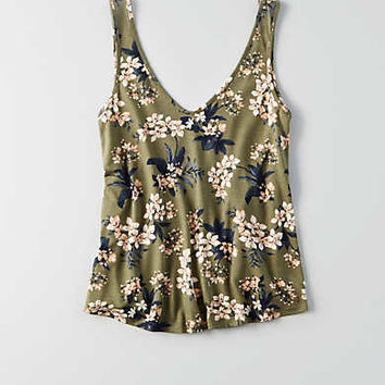 AEO Bar Back V-Neck Tank , Olive