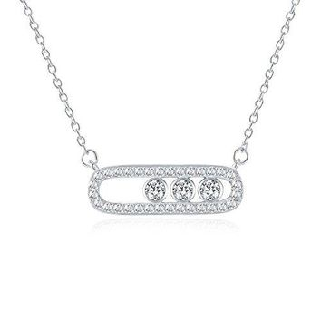 Cubic Zirconia Minimalist Bar With Button Necklace - Simplicity Inspired CZ Necklaces For Women