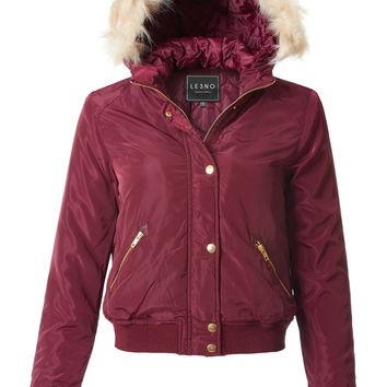 LE3NO Womens Water Resistant Cropped Bomber Jacket with Faux Fur Trim Hoodie