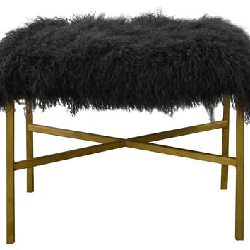 "Krosbar 24"" Sheepskin Bench, Dark Gray, Entryway Bench"