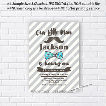 Little Man Birthday Invitation. Bow tie Mustache invitation design, Boy Birthday  first birthday  1st 2nd 3rd 4th 5th 30th - card 605