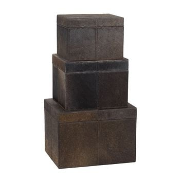 284054 Nested Chestnut Faux Pony Boxes - Set of 3
