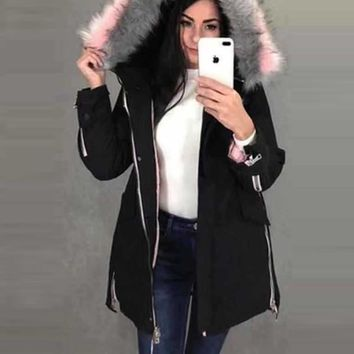 New Black Patchwork Fur Zipper Pockets Drawstring Button Hooded Long Sleeve Casual Coat