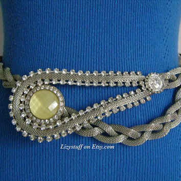 Rare Vintage Avant Garde Unique Silver Tone Braided Mesh W/Rhinestones Yellow Moonstone Coin Lariat Dramatic Necklace or Belt Fashion Runway