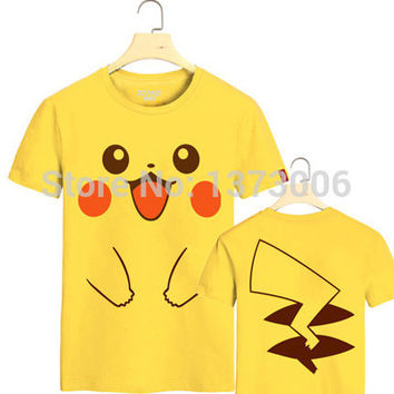 Pokemon Pikachu T-shirt Men and Women Anime Cosplay Costume couple lover tshirt t shirt  tee top