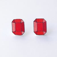 Red Gem Earrings - Made to Order