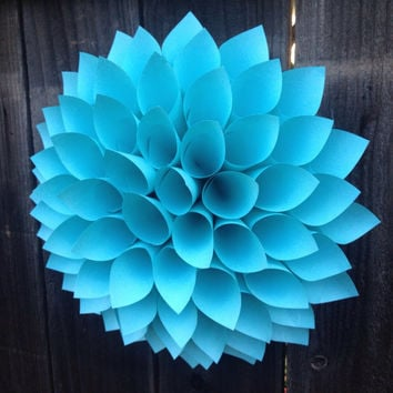 Dahlia Turqoise wreath paper wall art, centerpiece wedding baby showers 13 inches