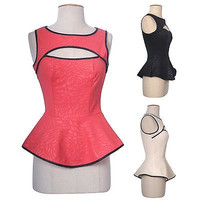 Women Textured Embossed Sleeveless Keyhole Cropped Peplum Skater Frill Shirt Top