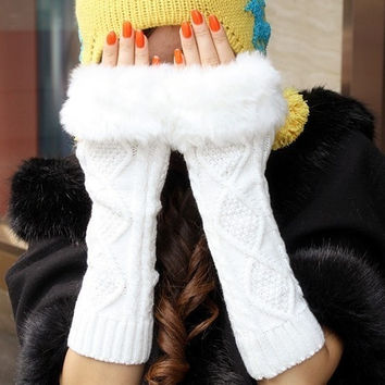 White Knit Faux Fur Extra-Long Wrist Warmers = 1931436292
