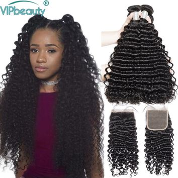 Malaysian deep curly human hair 3 bundles with closure vip beauty curly hair bundles with lace closure remy hair extension