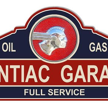 Pontiac Garage Shop Laser Cut Out Reproduction Sign 23″x11 1/4″