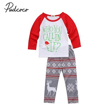 Cute Infant Baby Clothes Set Newborn Baby Girls Boy Tops T-shirt Pants Leggings 2pcs  Outfit Christmas Clothes For Newborns