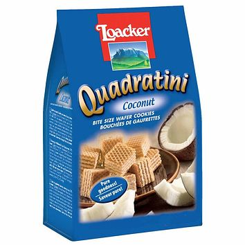 Quadratini Large Coconut Wafer Cookies by Loacker 8.8 oz