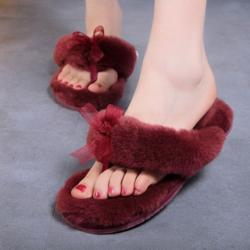 2016 New Women Comfortable Fur Slippers indoor Shoes Wool Slipper Home Footwear Flat Heel 14 colors Fashion House Slippers