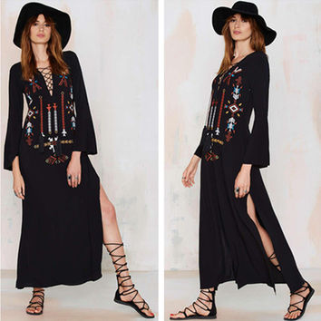 """Free People"" Fashion Ethnic Retro Totem Embroidery V-Neck Bandage Long Sleeve Maxi Dress"
