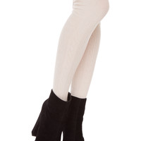Charlize Over The Knee Socks - Ivory - One