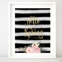 Hello Spring, printable spring decor featuring flowers and black & white stripes